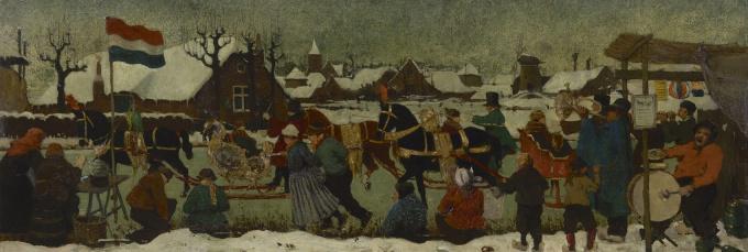 A Dutch winter landscape by Evert Jan Ligtelijn