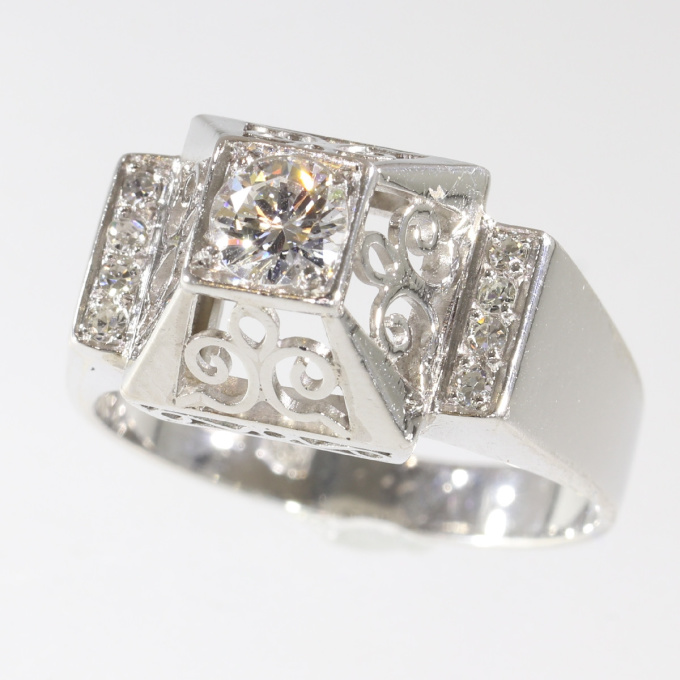 Unusual platinum diamond engagement ring from the fifties by Unknown Artist