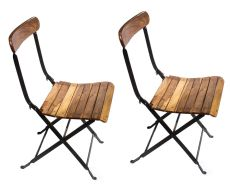 French Folding Garden Bistro Chairs by Unknown Artist