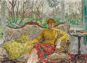 Madame De Smet op een sofa by Léon De Smet