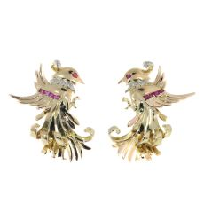 Vintage Retro gold and diamond earrings clips by Unknown Artist