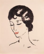 Young girl with lowered eyes by Kees van Dongen