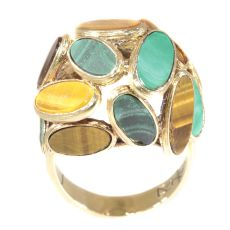 Vintage Sixties pop-art gold ring set with malachite and tiger eye by Unknown