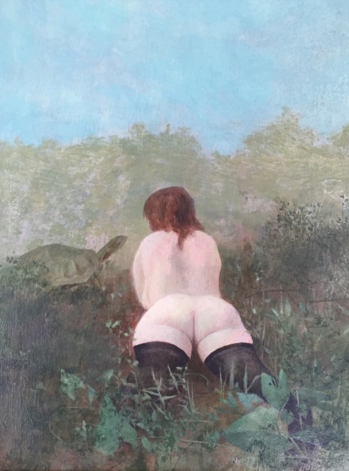 Vrouw met schildpad  by Wout Muller