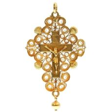Antique gold French Rococo cross in filigree from around the French Revolution by Unknown Artist