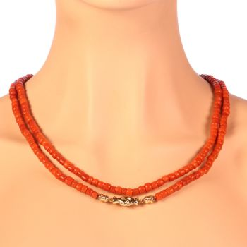 Victorian antique Dutch coral necklace with gold holding hands as clasp by Unknown Artist