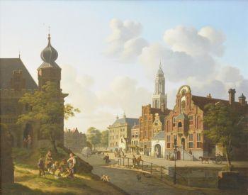 A sunny town square with gamblers by Jan Hendrik Verheijen