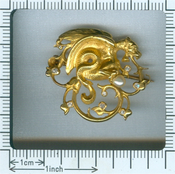 Antique gold diamond and pearl Griffin brooch by Unknown