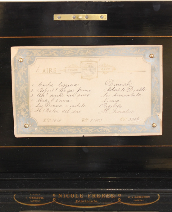 A Swiss Nicole Frères burr walnut operatic cylinder music box by Nicole Frères Geneve & London