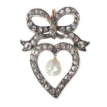 Antique Victorian diamond heart pendant by Unknown Artist