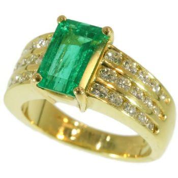 Vintage Kutchinsky 2.33 Carat Natural Emerald & Diamond 18 Karat Yellow Gold Ring by Unknown Artist