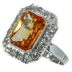 Estate rose cut diamonds ring with Verneuil padparadscha sapphire by Unknown Artist