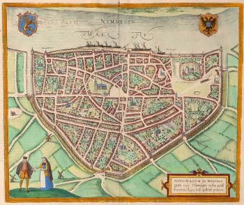 Nijmegen  by  Georg Braun + Franz Hogenberg
