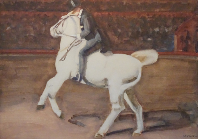Horse with rider in circus ring by Kees Maks