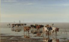 Cattle on the beach at low tide by Pieter Stortenbeker