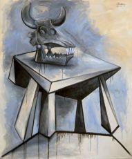 Skull of a bull on a table