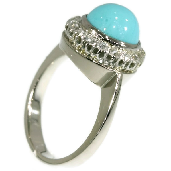 White gold estate diamond ring with turquoise by Unknown