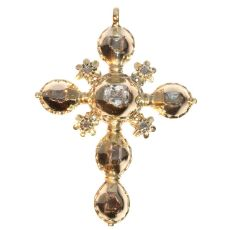 18th Century Antique gold cross all set with table cut rose cut diamonds by Unknown Artist