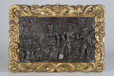 Carved Walnut Panel in Original Giltwood Frame