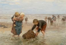 The shrimp catch of the fishermen's children by Bernardus Johannes Blommers