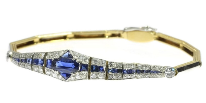 High quality Dutch Art Deco sapphire and diamond bracelet  wrist candy by Unknown