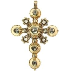 Antique Belgian gold cross pendant with old table cut rose cut diamonds by Unknown Artist