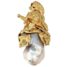 Intriguing Victorian pendant with big baroque pearl and warrior adornments by Unknown Artist