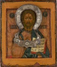 Russian Pantokrator icon with a silver nimbus and zata by Unknown Artist