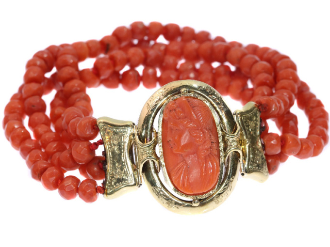 Antique Victorian coral cameo bracelet with faceted coral beads by Unknown