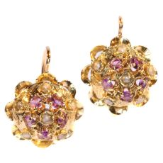 Antique Victorian Gold Amethyst And Pearl Gold Earrings by Unknown Artist