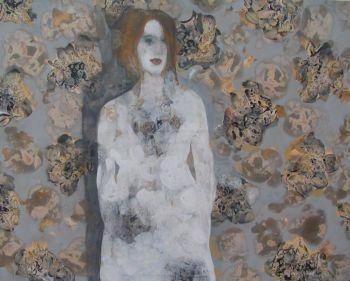 Dame in bloemenveld by Julia Ninio