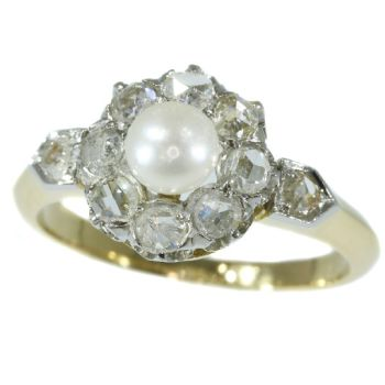 Late nineteenth Century diamond pearl engagement ring by Unknown Artist