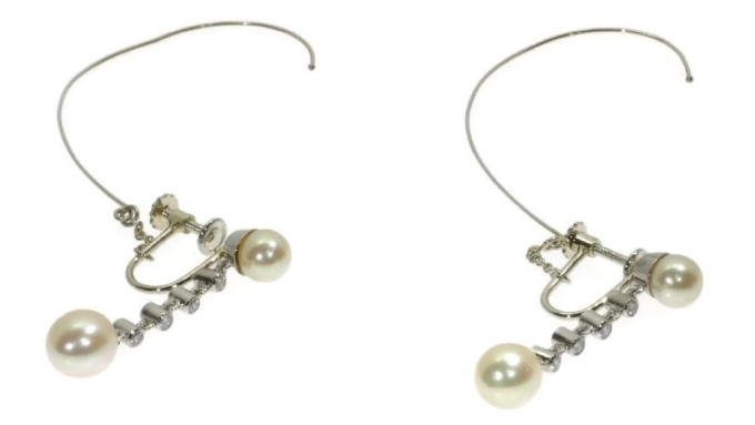 Platinum diamond and pearl long pendent earrings screws with safety system by Unknown Artist