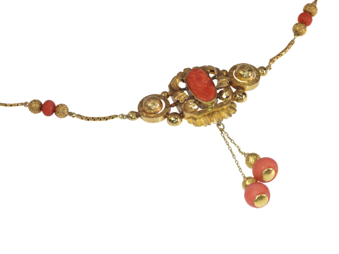 French Antique Gold and Coral Cameo Necklace by Unknown Artist
