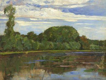 The farm Geinrust along the river Gein by Piet Mondriaan