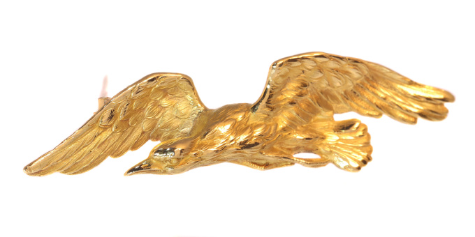 Late Victorian gold brooch flying eagle by Unknown Artist