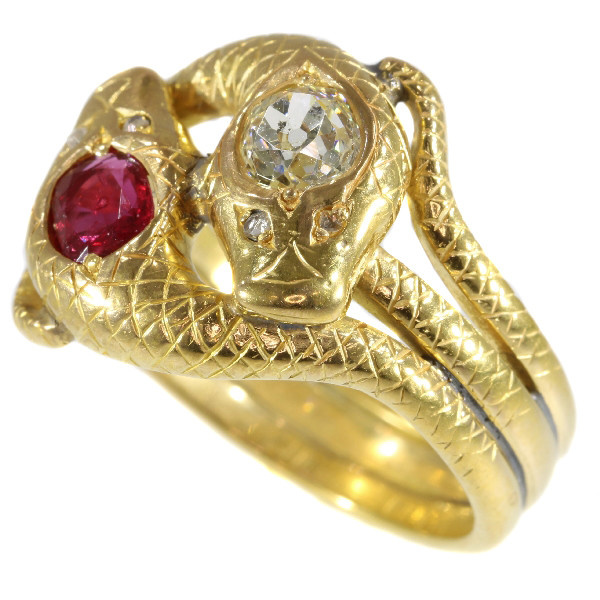 Late Victorian gold double serpent snake ring set with big diamond and ruby by Unknown Artist