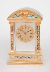 An attractive French gilt brass cloisonne enamel travel clock, circa 1880 by W.M. & Co.