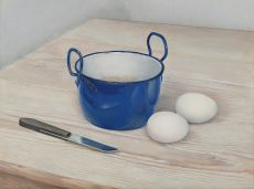 Still life with eggs and a knife by Jan Boon