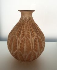 A very attractive vase Malesherbes in orange patine by René Lalique