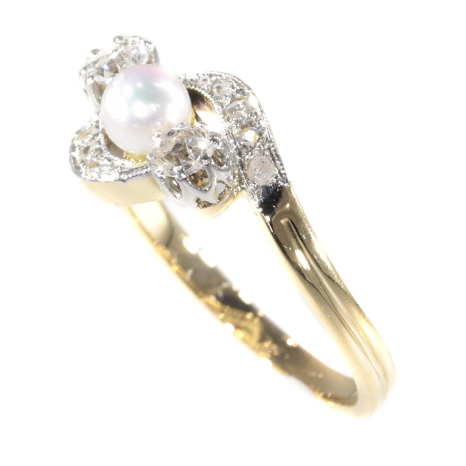 Late Victorian diamond and pearl cross over ring by Unknown Artist