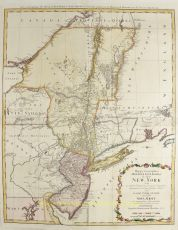FINE MAP OF NEW YORK AND NEW JERSEY, MADE DURING THE REVOLUTIONARY WAR  by Homann Heirs