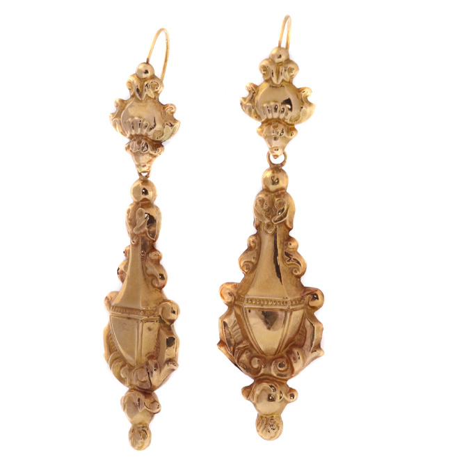 Victorian 18kt red gold dangle earrings, excellent condition by Unknown