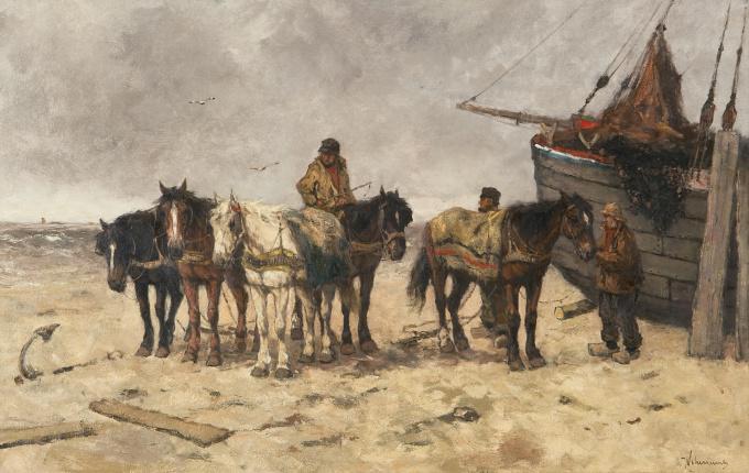 Fishermen with horses on the beach by Johan Frederik Cornelis Scherrewitz