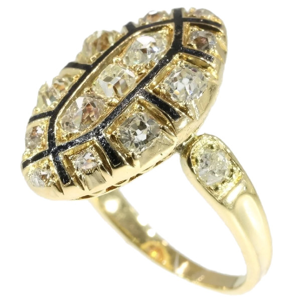 Mid 18th Century antique Baroque/Rococo ring with old mine cut diamonds by Unknown Artist