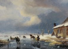 Skaters on a frozen river at the outskirts of a town by Nicolaas Johannes Roosenboom