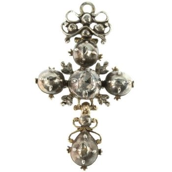 Antique cross pendant knot diamonds French regional Normandy by Unknown Artist