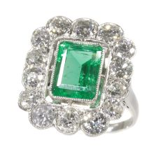 Vintage Fifties platinum diamond ring with untreated natural emerald by Unknown Artist
