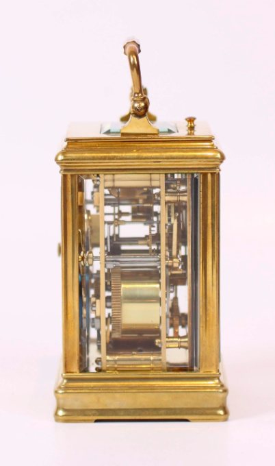 A French brass carriage clock with alarm, circa 1890 by Unknown Artist