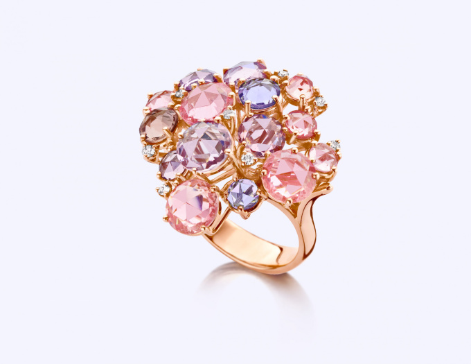 Rose Gold Ring with Diamond and Sapphire by Baskania
